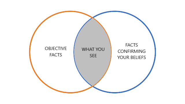 Venn diagram showing that what you see is the intersection of objective facts and facts confirming your beliefs