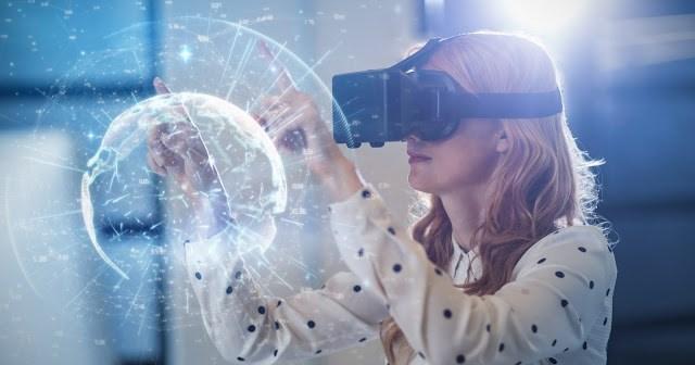 Woman wearing a VR headset