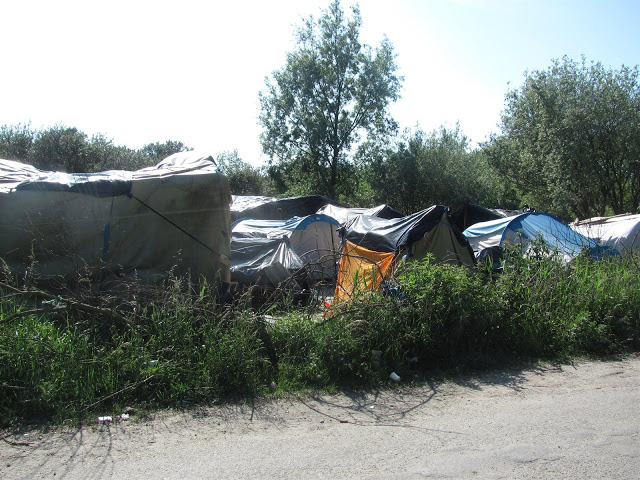 An image showing the 'jungle' in Calais, a refugee camp in the North of France.