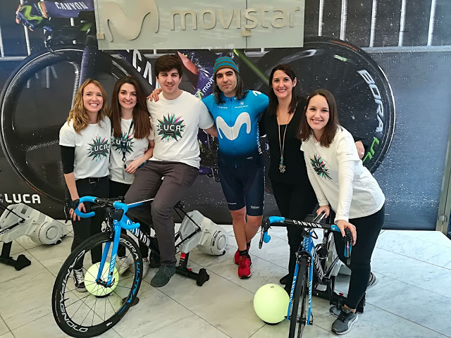 Chema Alonso (CDO Telefónica), Elena Gil (CEO LUCA) and the LUCA team in Movistar Centre Barcelona