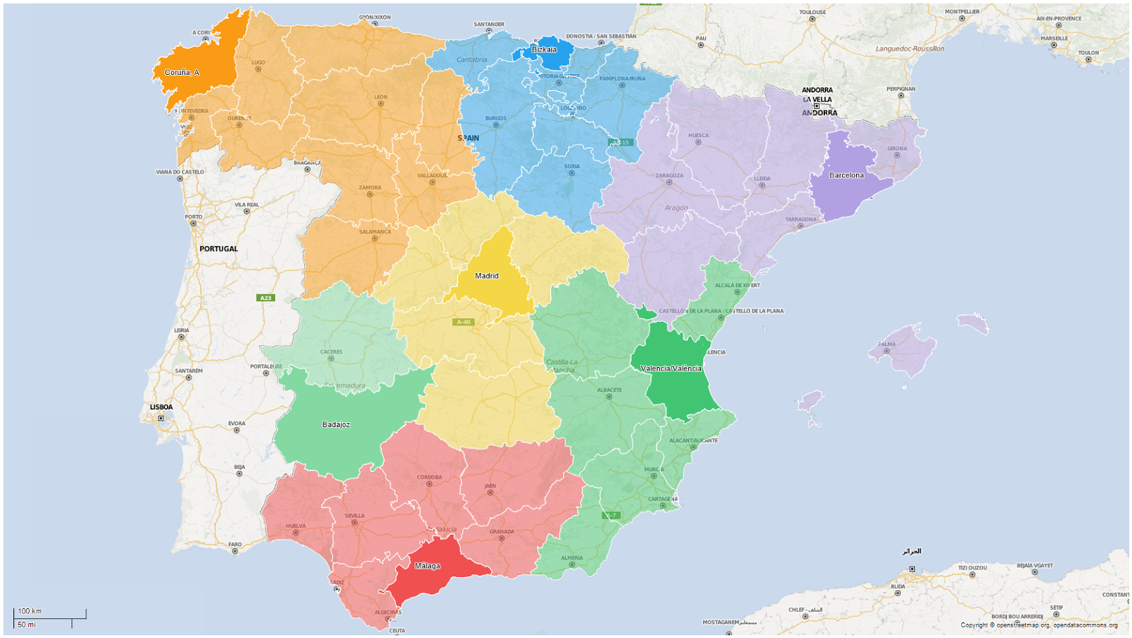 Big Map Of Spain.The New Spain Redrawing The Country Using Mobility Data Think Big
