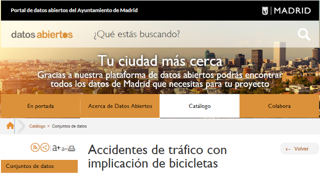 hompage of the madrid city council data portal