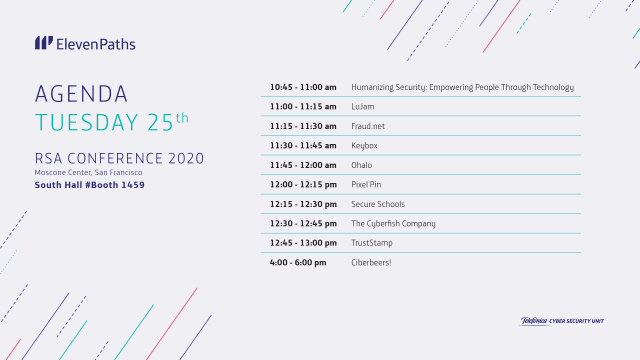 Agenda ElevenPaths tuesday 25 RSA Conference 2020
