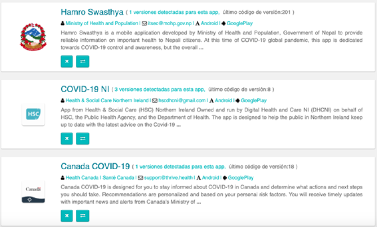 Apps related to COVID-19 published overseas in Google Play